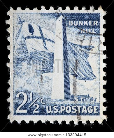 United States Used Postage Stamp Showing Bunker Hill Monument Boston