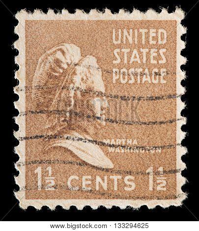United States Used Postage Stamp Showing President Wife Martha Washington