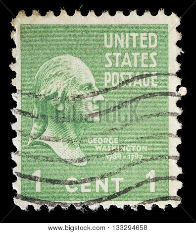 United States Used Postage Stamp Showing President George Washington