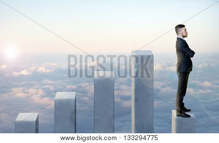 Businessman standing in profile on the latest of five columns with his arms folded. Step down. Concept of regression and fall. Illustration concept. Fall after takeoff. Ups and downs, income and expenses. Do not be sad.