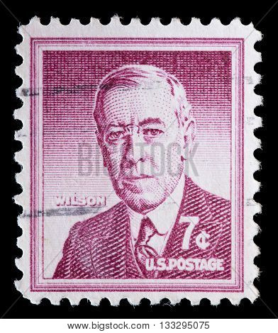 United States Used Postage Stamp Showing President Woodrow Wilson