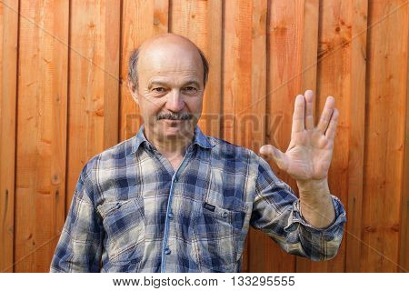 Vulcan greeting. Vulcan Salute. elderly man with a mustache and a bald head welcomes both the Vulcan. Fan fiction films.