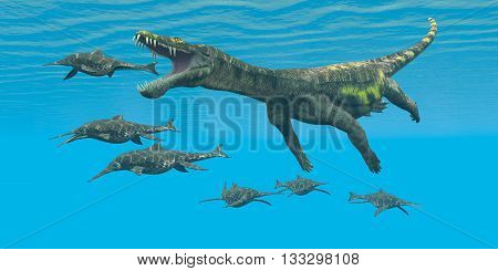 Nothosaurus attacks Shonisaurus 3D Illustration - Shonisaurus Ichthyosaurs are prey and hunted by the enormous Nothosaurus aquatic reptile in Triassic seas. poster