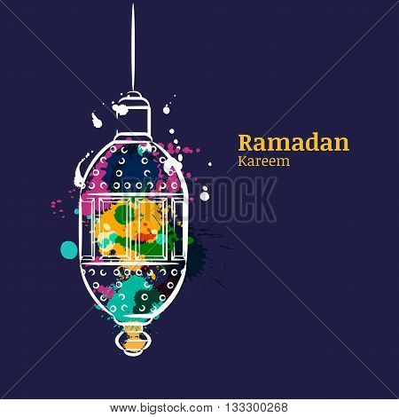Ramadan Greeting Card With Traditional Watercolor Night Lantern. Ramadan Kareem Watercolor Dark Blue