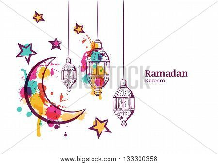Ramadan Greeting Card Or Banner Horizontal Background. Traditional Watercolor Lanterns, Moon And Sta