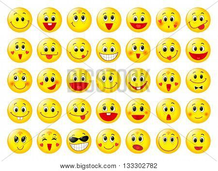 Yellow happy round emoticon faces vector set isolated on white