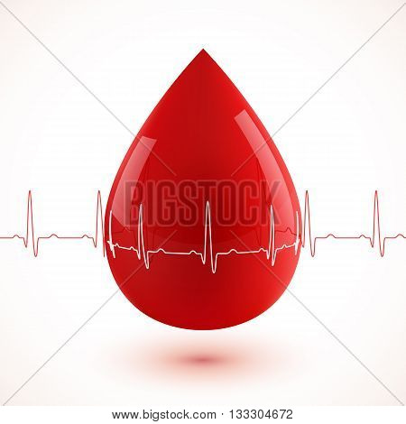 Red glossy 3d vector blood drop with red and white cardiogram