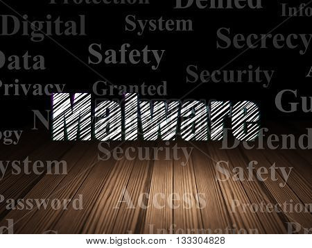 Privacy concept: Glowing text Malware in grunge dark room with Wooden Floor, black background with  Tag Cloud
