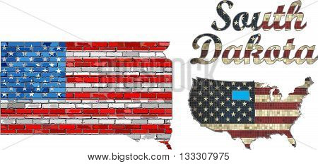 USA state of South Dakota on a brick wall - Illustration, The flag of the state of South Dakota on brick textured background,  Font with the United States flag,  South Dakota map on a brick wall