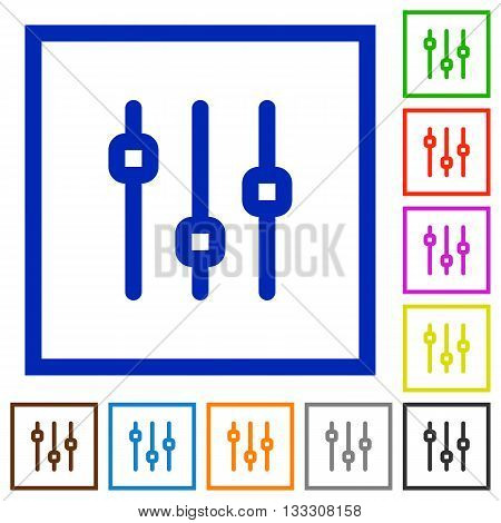 Set of color square framed vertical adjustment flat icons