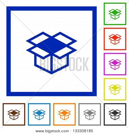 Set of color square framed open box flat icons