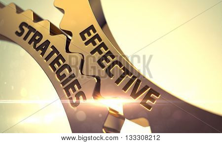 Effective Strategies - Industrial Illustration with Glow Effect and Lens Flare. Golden Cog Gears with Effective Strategies Concept. Effective Strategies Golden Gears. 3D.