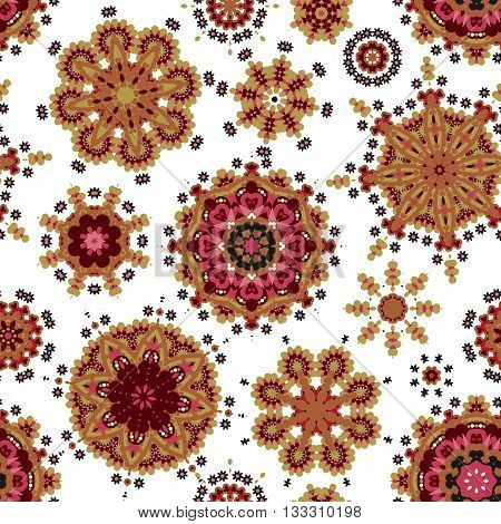 Ethnic pattern in orange red color with stylized flowers, leaves and circular shapes with Kazakh, Turkish, Uzbek motifs Seamless vector texture for print, spring summer fashion, wallpaper, fabric,