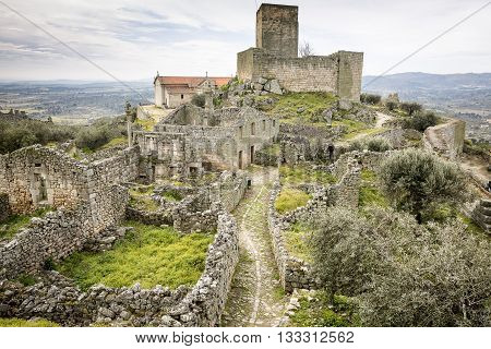 inside the ancient fortress and castle in Marialva historic village, Guarda, Portugal