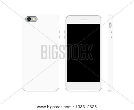 Blank white phone case mock up stand isolated. 3 sides 3d illustration. Empty smart phone cover mockup ready for logo texture print presentation. Cellphone plastic protector cover concept. Smartphone casing design.