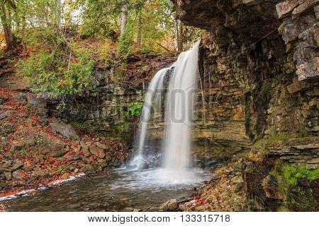 Amazing, great natural view of Niagara escarpment green belt waterfall in beautiful cozy autumn woods