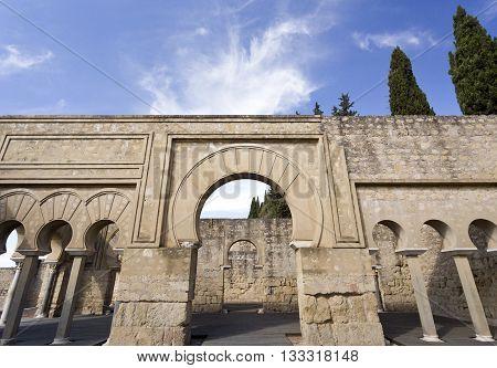 MEDINA AZAHARA, SPAIN - September  11, 2015: Detail of the Upper Basilica Hall at Medina Azahara medieval palace-city near Cordoba on September  11, 2015 in Medina Azahara, Spain
