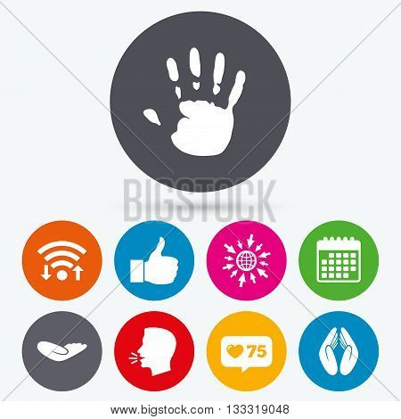 Wifi, like counter and calendar icons. Hand icons. Like thumb up symbol. Insurance protection sign. Human helping donation hand. Prayer hands. Human talk, go to web.