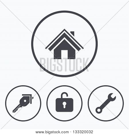 Home key icon. Wrench service tool symbol. Locker sign. Main page web navigation. Icons in circles.
