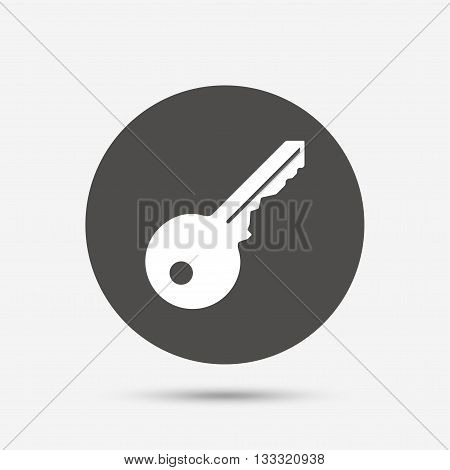 Key sign icon. Unlock tool symbol. Gray circle button with icon. Vector