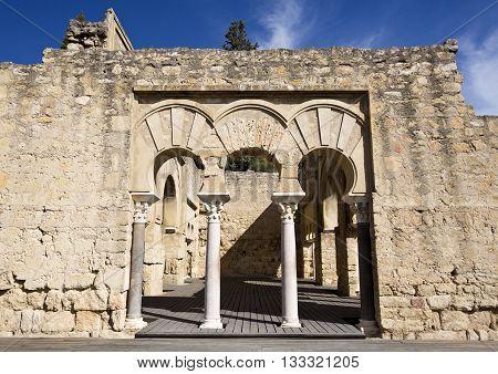 MEDINA AZAHARA, SPAIN - September  11, 2015: Detail of the entrance to the Upper Basilica Hall at Medina Azahara medieval palace-city near Cordoba on September  11, 2015 in Medina Azahara, Spain
