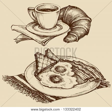 Breakfast food, coffee and croissant, ham and eggs. Hand drawn illustration