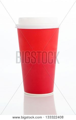 Coffee to go. Blank paper cup isolated on white background