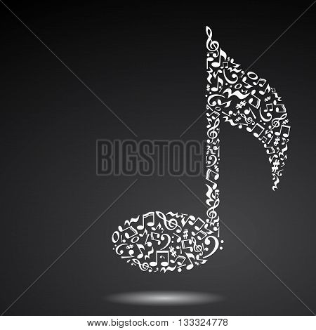 Music note made of music notes. White notes pattern. Note shape. Poster and decoration idea.