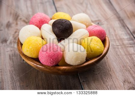 Gulab Jamun or kala jamun, khoya jalebi or black jalebi and Chum Chums or multicolour rassgulla or rasagulla, famous bengali sweets