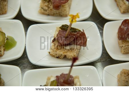 Party Food cocktail on a white plat