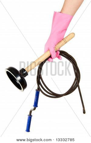 Female hand in a pink glove keeps a ventouse and hawser for the water drain isolated on a white background poster