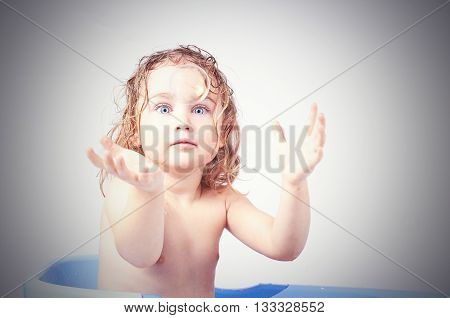 Little Girl  Catches Soap Bubble