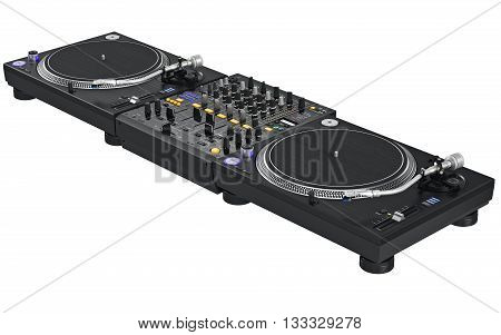 Professional black table dj mixer music equipment. 3D graphic