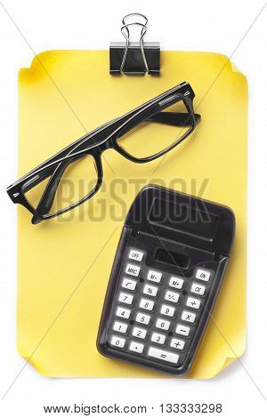 View Of Note With Spectacles And Calculator