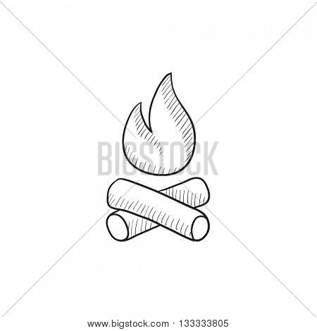 Campfire vector sketch icon isolated on background. Hand drawn Campfire icon. Campfire sketch icon for infographic, website or app.