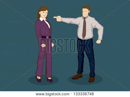 Cartoon woman worker scolded by boss and cried. Vector illustration of being upset at work concept isolated on plain green background.