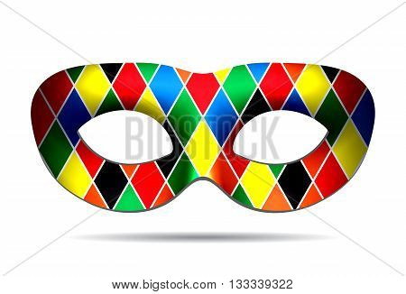 Beautiful Harlequin mask isolated on white background. Vector iluustration