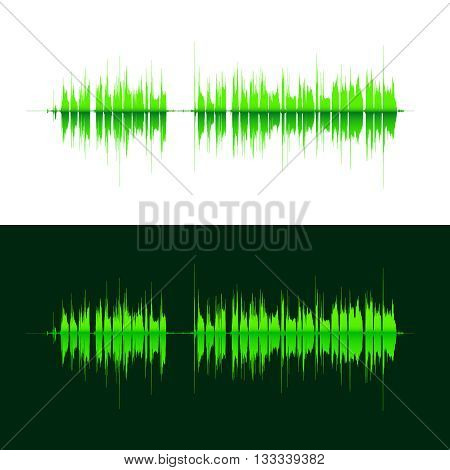 HQ Vector sound waves. Music waveform green background. You can use in club, radio, pub, DJ show, party, concerts, recitals or the audio technology advertising background.