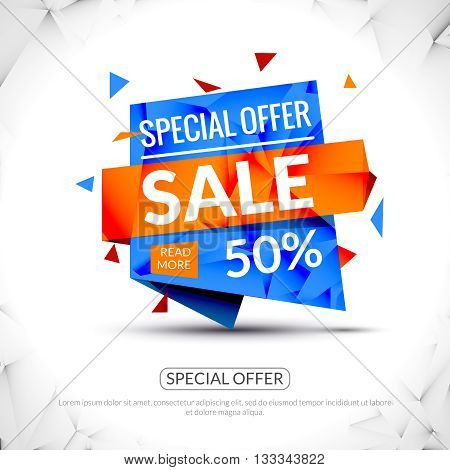 Super Big Sale paper origami banner. Sale background. Big sale tag. Sale advertising coupon. Sale concept. Huge Sale and special offer. 50 percents off. Vector illustration