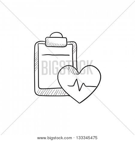 Heartbeat record vector sketch icon isolated on background. Hand drawn Heartbeat record icon. Heartbeat record sketch icon for infographic, website or app.