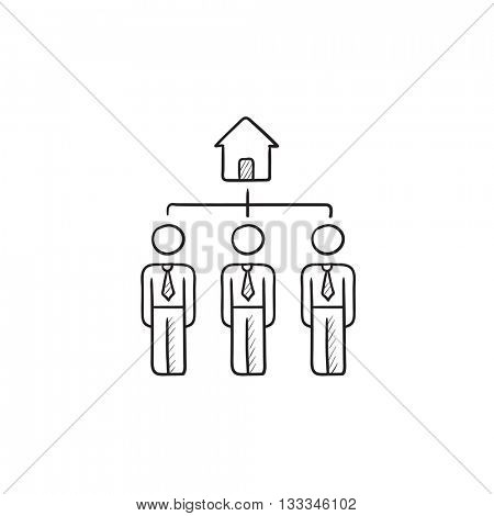 Three real estate agents vector sketch icon isolated on background. Hand drawn Three real estate agents icon. Three real estate agents sketch icon for infographic, website or app.