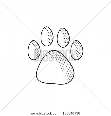 Paw print vector sketch icon isolated on background. Hand drawn Paw print icon. Paw print sketch icon for infographic, website or app.