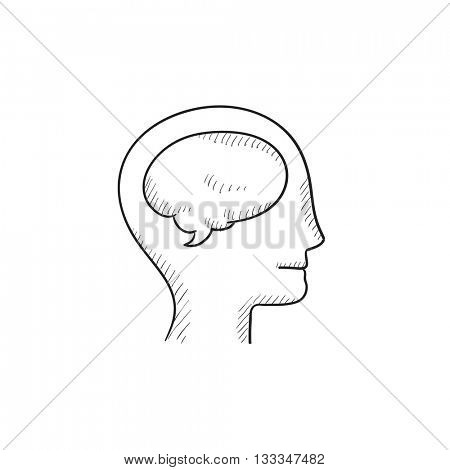 Human head with brain vector sketch icon isolated on background. Hand drawn Human head with brain icon. Human head with brain sketch icon for infographic, website or app.