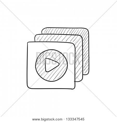 Media player vector sketch icon isolated on background. Hand drawn Media player icon. Media player sketch icon for infographic, website or app.