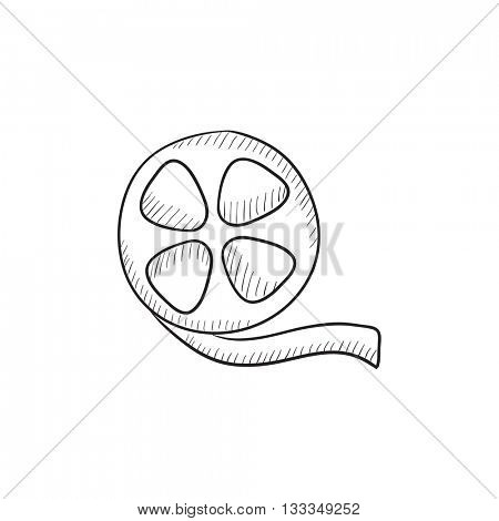 Film reel vector sketch icon isolated on background. Hand drawn Film reel icon. Film reel sketch icon for infographic, website or app.