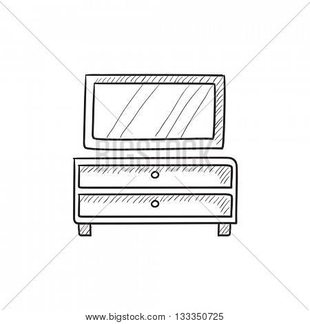 Chest of drawers with mirror vector sketch icon isolated on background. Hand drawn Chest of drawers with mirror icon. Chest of drawers with mirror sketch icon for infographic, website or app.