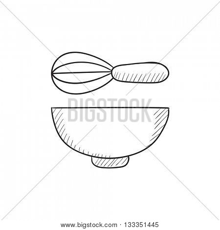 Whisk and bowl vector sketch icon isolated on background. Hand drawn Whisk and bowl icon. Whisk and bowl sketch icon for infographic, website or app.