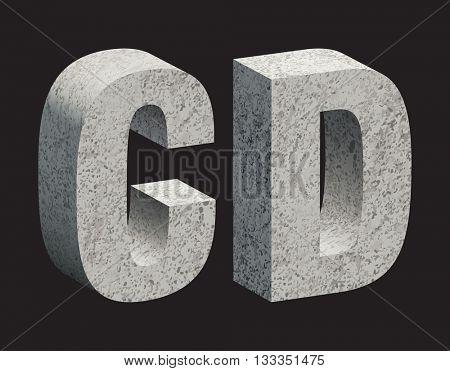 Concrete 3D letters. Vector illustration.