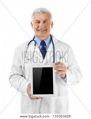 Professional doctor with tablet, isolated on white