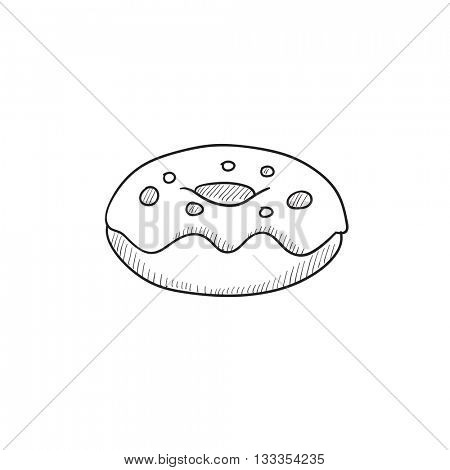 Doughnut vector sketch icon isolated on background. Hand drawn Doughnut icon. Doughnut sketch icon for infographic, website or app.